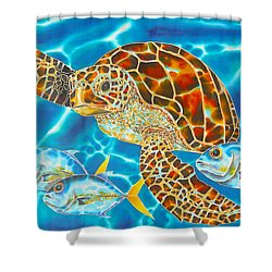 Green Sea Turtle Shower Curtain by Daniel Jean-Baptiste