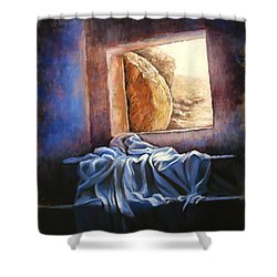 He Is Risen Shower Curtain by Susan Jenkins