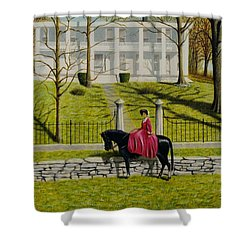 Her Favorite Horse Shower Curtain by Stacy C Bottoms