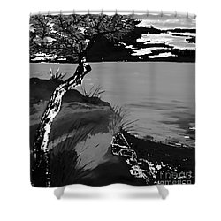 Horizon In Black And White Shower Curtain by Loredana Messina