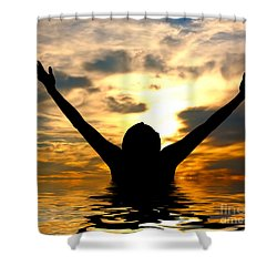 I Love The World Shower Curtain by Michal Bednarek