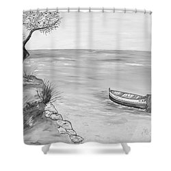 Shower Curtain featuring the painting Il Pescatore Solitario by Loredana Messina