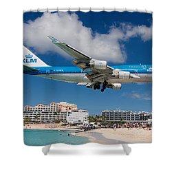 K L M Landing At St. Maarten Shower Curtain