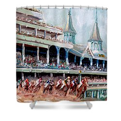 Kentucky Derby Shower Curtain by Todd Bandy