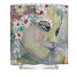 Shower Curtain featuring the painting Lady In The Waterfall by Avonelle Kelsey