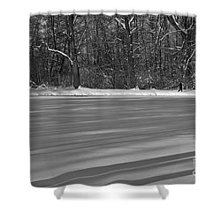 Lake Under Snow Shower Curtain by Dariusz Gudowicz