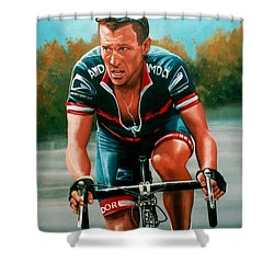 Lance Armstrong Shower Curtain by Paul Meijering