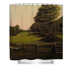 Landscape Of Duxbury Golf Course - Image Of Original Oil Painting Shower Curtain