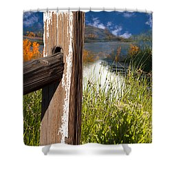 Landscape With Fence Pole Shower Curtain by Gunter Nezhoda