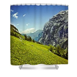 Shower Curtain featuring the photograph Lauterbrunnen Valley In Bloom by Jeff Goulden