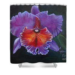 Shower Curtain featuring the painting Lavender Orchid by Jenny Lee
