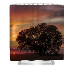 Light Pillar And Cottonwood Shower Curtain by Rob Graham