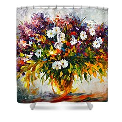 Lilac And Camomiles Shower Curtain by Leonid Afremov