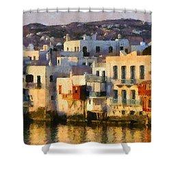Little Venice In Mykonos Island Shower Curtain