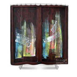 Log Fire Cabinet Door Shower Curtain by Asha Carolyn Young