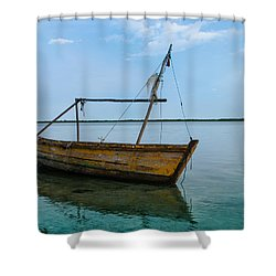 Lonely Boat Shower Curtain by Jean Noren