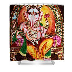 Shower Curtain featuring the painting Lord Ganesha by Harsh Malik