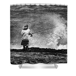 Man Versus The Sea Shower Curtain by Mike  Dawson