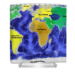 Map Of The World Shower Curtain