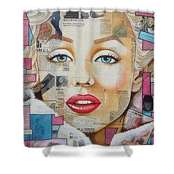 Shower Curtain featuring the painting Marilyn In Pink And Blue by Joseph Sonday