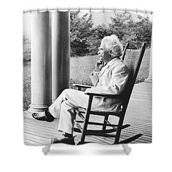 Mark Twain On A Porch Shower Curtain by Underwood Archives