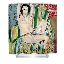 Matisse's Odalisque Seated With Arms Raised In Green Striped Chair Shower Curtain by Cora Wandel