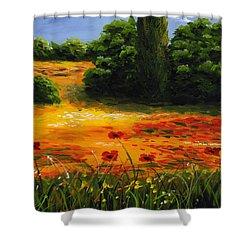 Mediterranean Landscape Shower Curtain by Edit Voros