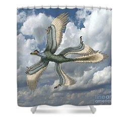 Microraptor Shower Curtain by Spencer Sutton