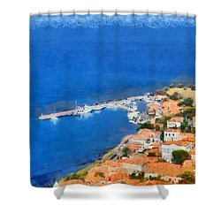 Molyvos Town Shower Curtain by George Atsametakis