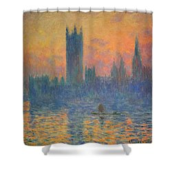 Monet's The Houses Of Parliament At Sunset Shower Curtain by Cora Wandel