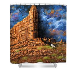 Shower Curtain featuring the painting Monument Valley by Sgn