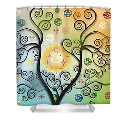 Shower Curtain featuring the digital art Moon Swirl Tree by Kim Prowse