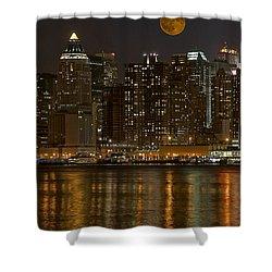 Moonrise Over Manhattan Shower Curtain by Susan Candelario