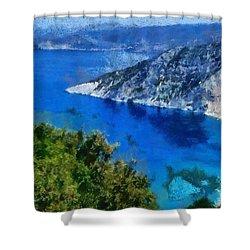 Myrtos Beach In Kefallonia Island Shower Curtain