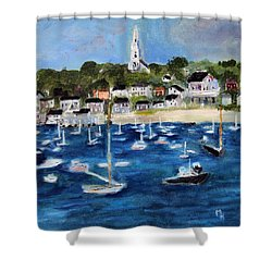 Shower Curtain featuring the painting Nantucket Harbor by Michael Helfen