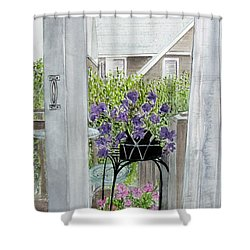 Shower Curtain featuring the painting Nantucket Room View by Carol Flagg