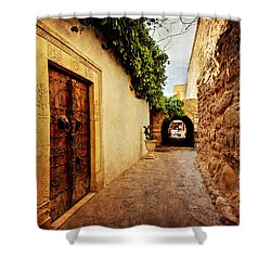 Shower Curtain featuring the photograph Narrow Street In Souk / Hammamet by Barry O Carroll