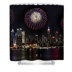 New York City Celebrates The 4th Shower Curtain by Susan Candelario
