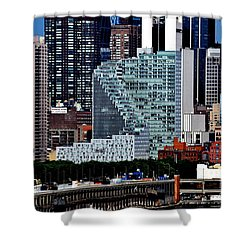 New York City Skyline With Mercedes House Shower Curtain