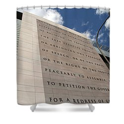 Shower Curtain featuring the photograph The Newseum by Cora Wandel