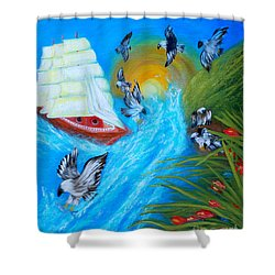 Nine Eagles For Success. Soul Collection Shower Curtain