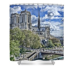 Notre Dame Shower Curtain by Hugh Smith