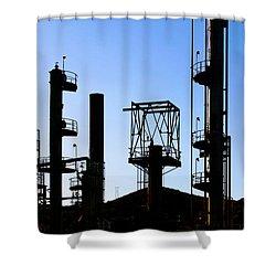 Oil Refinery Shower Curtain by Henrik Lehnerer
