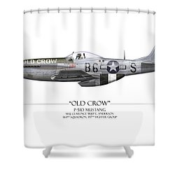 Old Crow P-51 Mustang - White Background Shower Curtain