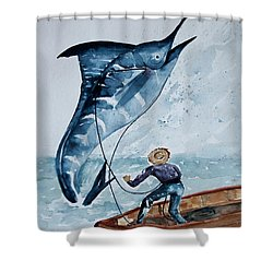 Old Man And The Sea Shower Curtain by Barbara McMahon
