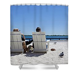 On The Waterfront Shower Curtain by Keith Armstrong