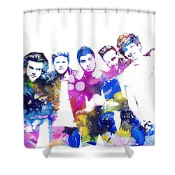 One Direction Shower Curtain by Doc Braham