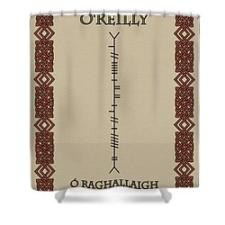 Shower Curtain featuring the digital art O'reilly Written In Ogham by Ireland Calling