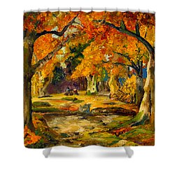 Shower Curtain featuring the painting Our Place In The Woods by Mary Ellen Anderson