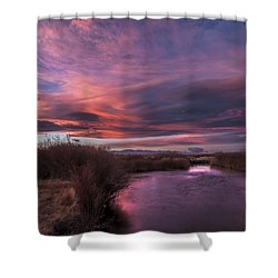 Owens River Sunset Shower Curtain